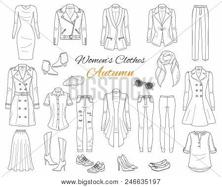 Women's Clothes Collection. Vector Sketch Illustration.