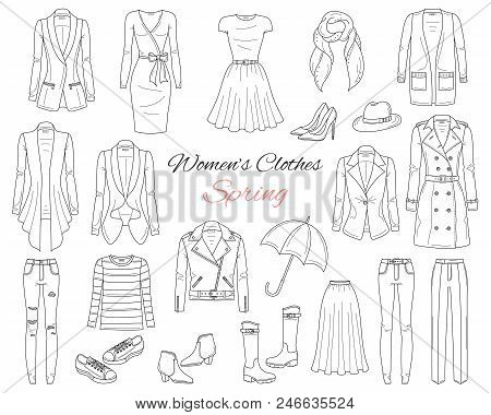 Female Fashion Set. Women Clothes Collection. Spring Outfit Dresses, Jeans, Tops, Blazers, Leather J