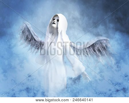 3D Rendering Of A White Angel In Heaven.