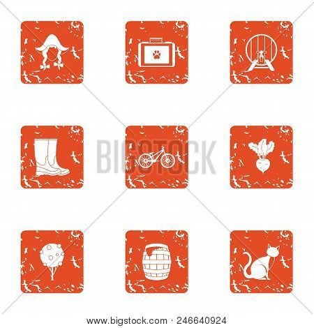 Rural Life Icons Set. Grunge Set Of 9 Rural Life Vector Icons For Web Isolated On White Background