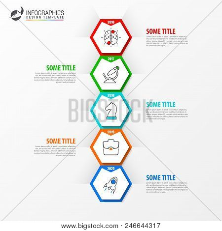 Infographic Design Template. Timeline Concept With 5 Steps. Can Be Used For Workflow Layout, Diagram