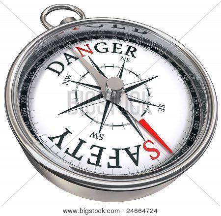 Danger Vs Safety Concept Compass