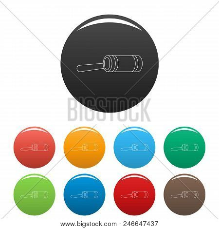 Justice Gavel Icon. Outline Illustration Of Justice Gavel Vector Icons Set Color Isolated On White