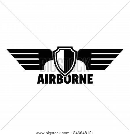 Airborne Wings Logo. Simple Illustration Of Airborne Wings Vector Logo For Web Design Isolated On Wh