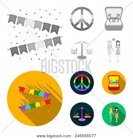 Flags, Rainbow, Emblem, Rings. Gay Set Collection Icons In Monochrome, Flat Style Vector Symbol Stoc