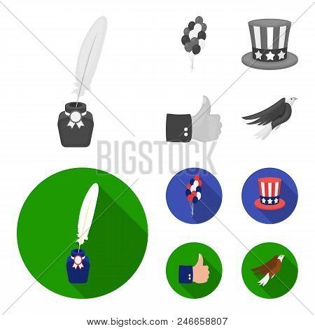 Balloons, Inkwell With A Pen, Uncle Sam Hat. The Patriot Day Set Collection Icons In Monochrome, Fla