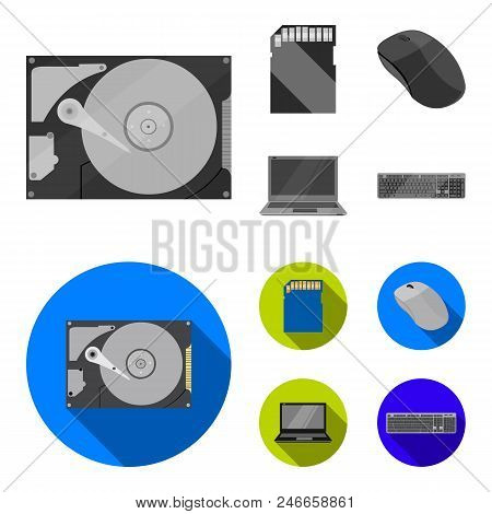 Computer Mouse, Laptop And Other Equipment. Personal Computervset Collection Icons In Monochrome, Fl