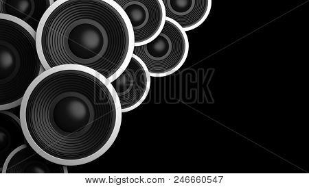 Music concept. Multiple various size black sound speakers on black background, copy space. 3d illustration