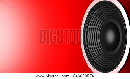 Music concept. Black sound speaker on red background, copy space. 3d illustration