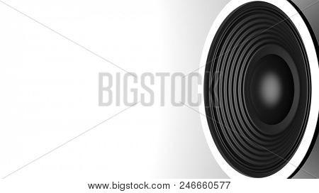 Music concept. Black sound speaker on white background, copy space. 3d illustration