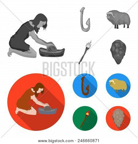 Cattle, Catch, Hook, Fishing .stone Age Set Collection Icons In Monochrome, Flat Style Vector Symbol