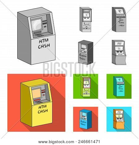 Cash Machine For Cash, Terminal For Payment, Ticket Machine. Terminals Set Collection Icons In Monoc