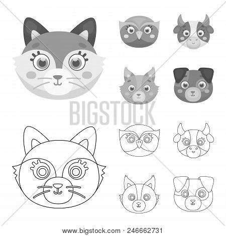 Owl, Cow, Wolf, Dog. Animal Muzzle Set Collection Icons In Outline, Monochrome Style Vector Symbol S