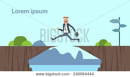 Arab Businessman Jumping Over Obstacles Over Chasm Go To The Opposite Goal Concept. Business Success