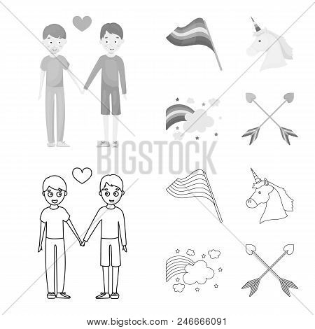 Flag, Unicorn Symbol, Arrows With Heart.gay Set Collection Icons In Outline, Monochrome Style Vector