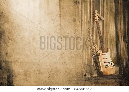 old grungy sax with electric guitar in retro look poster