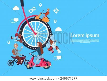 Bicycle Wheels People On Scooter, Teamwork Process Concept, Modern Effective Database Support Proces