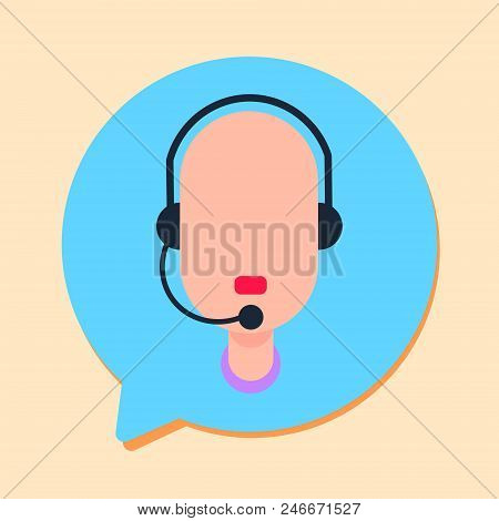 Callcenter Man Support Online Operator With Headphone, Customer And Technical Service Icon, Chat Con