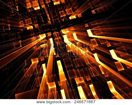 Golden Technology Background - Abstract Computer-generated Image. Digital Art: Tunnel, Portal Or Wel