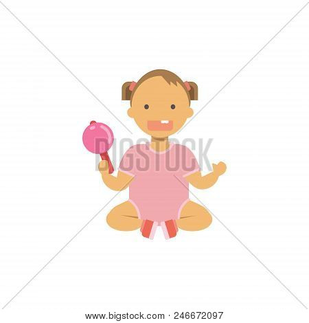Little Baby Dirl Hold Toy Rattle , Happy Children Full Length Avatar On White Background, Successful
