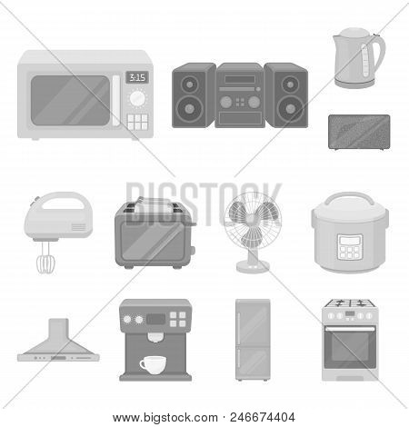 Types Of Household Appliances Monochrome Icons In Set Collection For Design.kitchen Equipment Vector