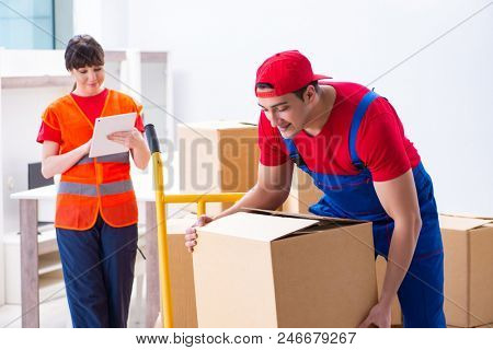 Professional movers doing home relocation poster