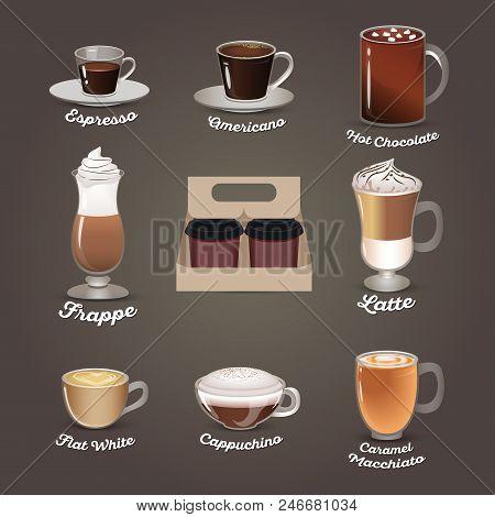 Coffee Set. Espresso, Americano, Hot Chocolate, Frappe, Latte, Flat White, Cappuchino Caramel Macchi