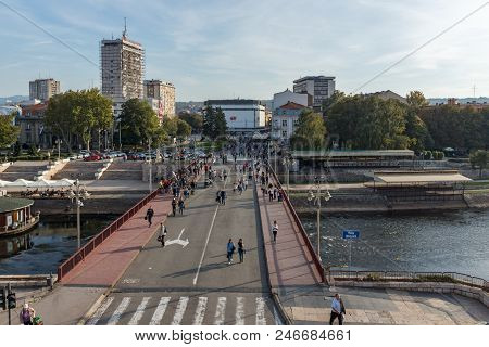 Nis, Serbia - October 21, 2017: Panoramic View Of City Of Nis And Bridge Over Nisava River, Serbia