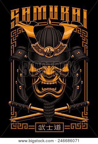Japanese Poster With Samurai Warrior Mask. All Elements - Mask, Helmet, Horns, Rope, Swords And Colo