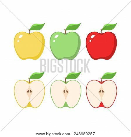 Yellow, Green And Red Apples Clipart Cartoons. Sliced Apple.