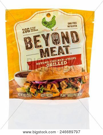Winneconne, Wi - 17 June 2018: A Package Of Beyond Meat Beyond Chicken Grilled Strips With Plant Bas