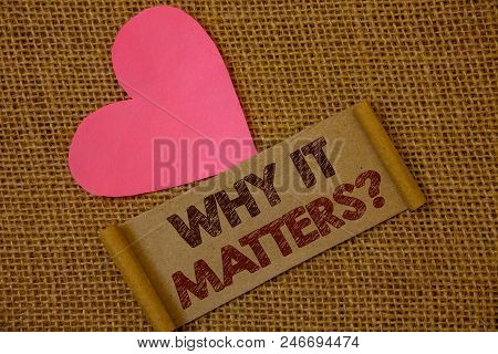 Handwriting Text Why It Matters Question. Concept Meaning Important Reasons To Do Something Motivati