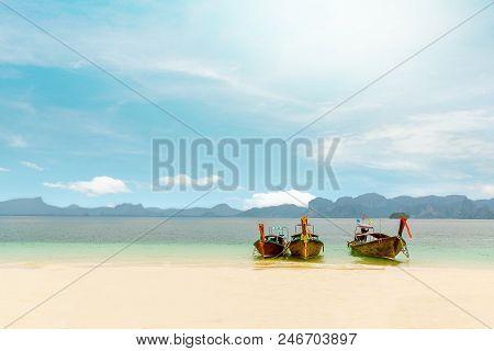 Thai Boats And Landmark At Po-da Island, Krabi Province, Andaman Sea, South Of Thailand.