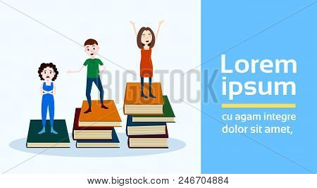Girl Man Character On Podium Books Stack Looser Winner Success Concept Template For Design Work And