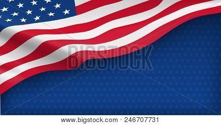 American Nation Banner With National Flag And Space For Text. Independence And Freedom Vector Concep