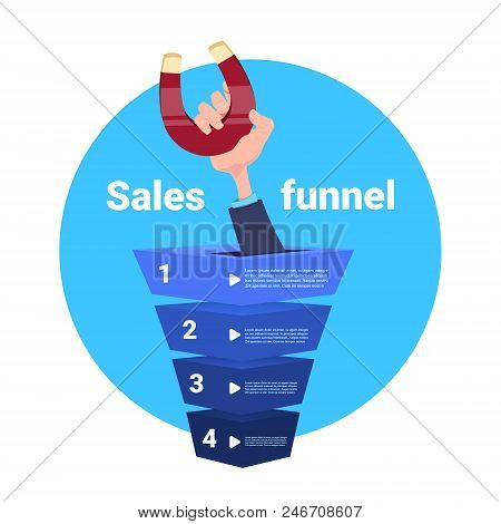 Hand Hold Magnet Sales Funnel Pulling. Purchase Diagram Concept Over Blue Background Flat Design Vec