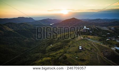 High Angle View Of Khao Koh Most Popular Winter Traveling Destination In Petchabun Thailand