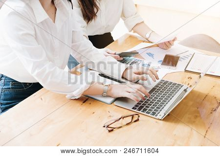 Business People Hand Typing On The Keyboard In Office With Paper Work Office And Technology Concept