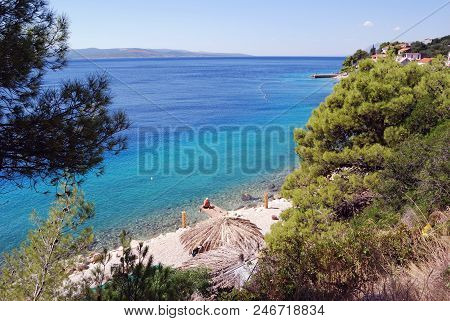 The Beautiful Coast Of Croatia In The Resort Town Of Bashka Voda, Croatia