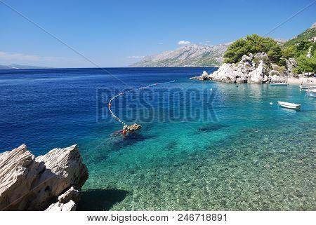 The Beautiful Coast Of Croatia In The Resort Town Of Brela