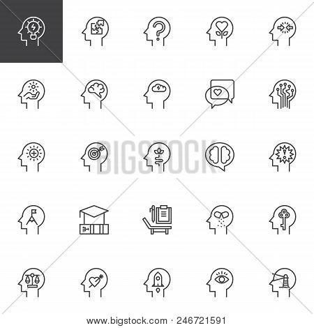 Psychology Outline Icons Set. Linear Style Symbols Collection, Line Signs Pack. Vector Graphics. Set