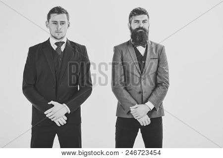 Beauty Fashion Model . Fashion Look. Businessmen, Business Partners, Isolated On White. Old Fashione