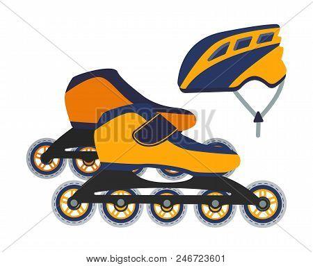 Vector Illustration Of Roller Blades And A Helmet. Outdoor Sport Equipment.