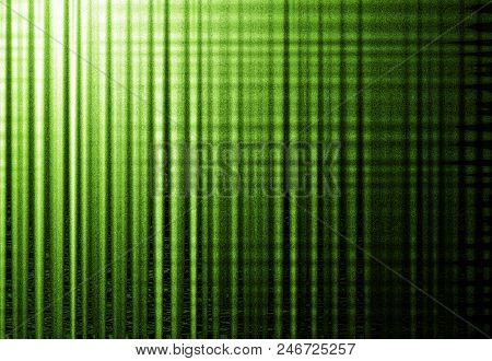 Abstract Background With Vertical Green Stripes And Grunge Noise