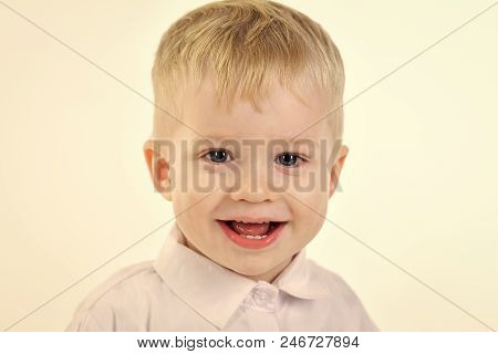 Little Boy In White Shirt, Business. Kid With Blonde Hair, Fashion. Kid Fashion, Style And Look, Bos