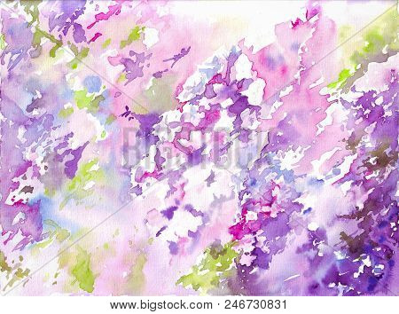 Purple and violet abstract background. Flowers abstract watercolor. Bright watercolor background. Illustration by watercolor