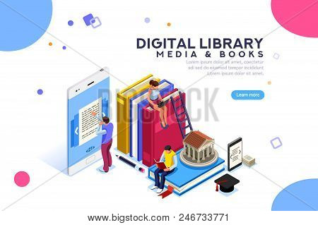 Encyclopedia, Media Book Library, Concept Of Culture. Characters, Group Of Students At Academic Lear
