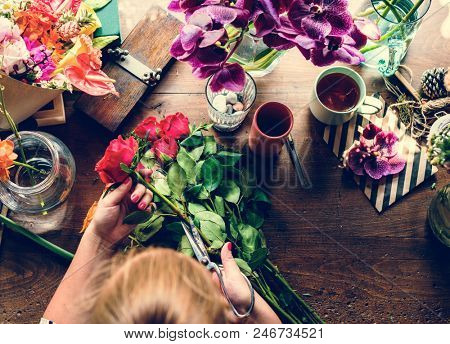 Small business flower shop retail occupation