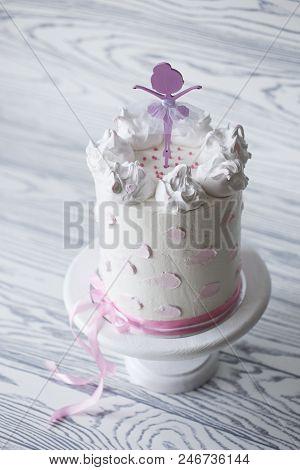 birthday pink cake. Tiered birthday cake. Children's pink cake poster