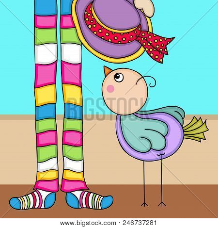Cute Bird Background With Colourful Socks Legs And Hat